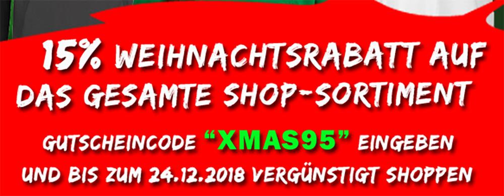 Weihnachts-Rabatt von 15 Prozent auf alle Fanartikel